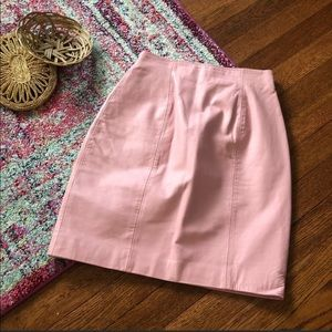 Chi Vintage baby pink leather pencil skirt
